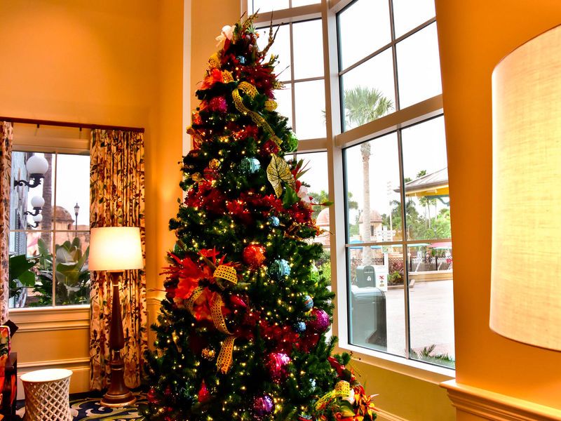 109-Christmas Trees are in place in the lobby of Caribbean B each Resort. - 109-Christmas Trees Are In Place In The Lobby Of Caribbean B Each