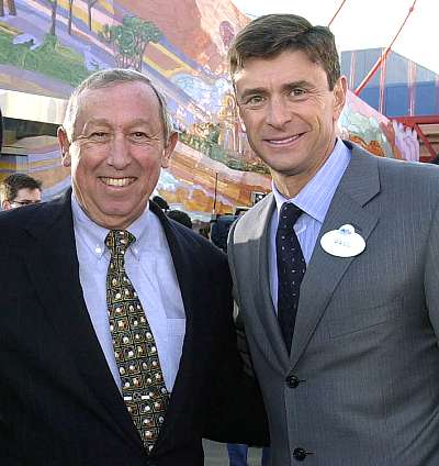 Roy E. Disney and Paul Pressler at the opening of California Adventure - Publicity photo � Disney